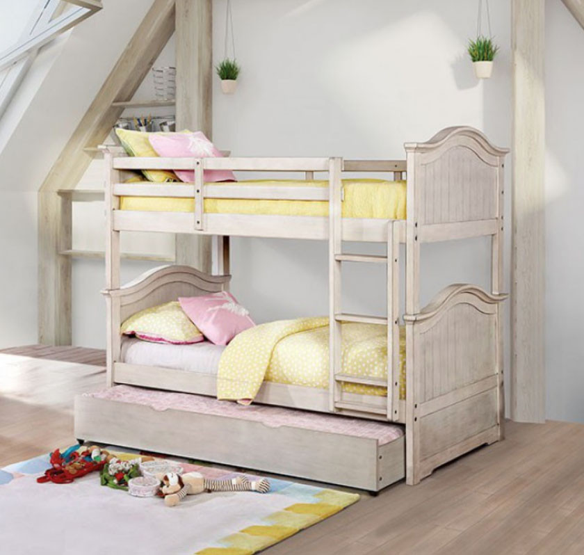 Alexsis Twin Convertible Bunk Bed In Antique White