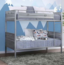 Corrugated Hand Brushed Twin Bunk Bed in Silver Finish