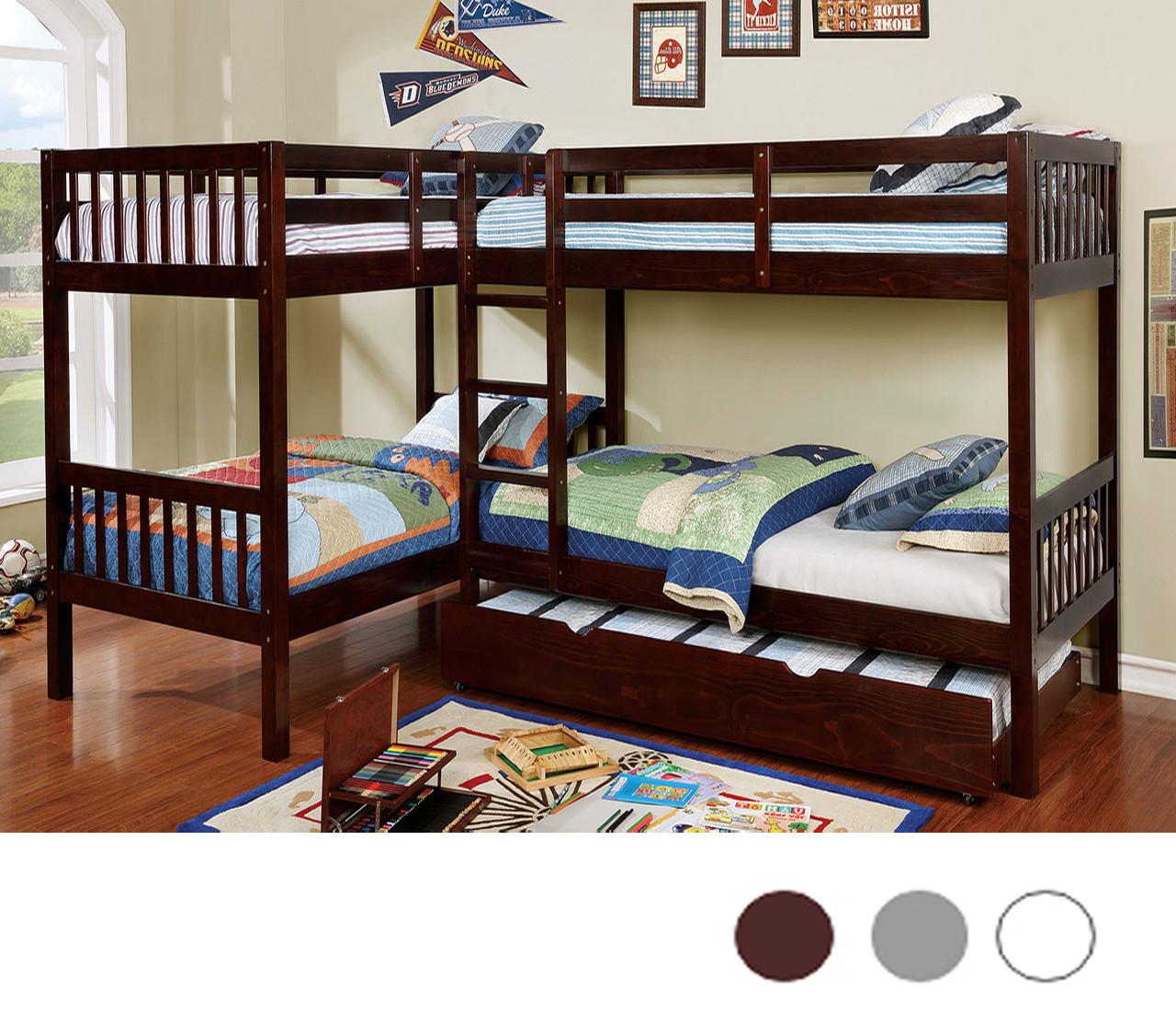 L Shaped Quadruple Wood Twin Bunk Bed In Dark Walnut