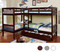 L Shaped Quadruple Twin Quad bunk bed in Dark Walnut