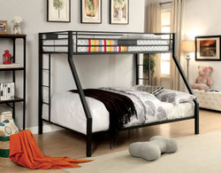 Brady Long Twin over Queen Black Bunk| Furniture of America BK939TQ