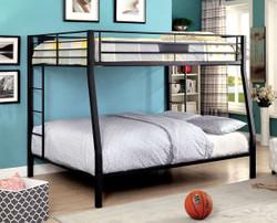 Brady Long Full over Queen Black Metal Bunk Bed | Furniture of America BK939FQ