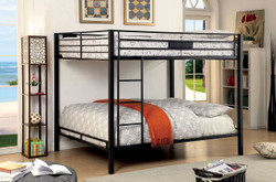 Brady Black Queen Metal Bunk Bed | Furniture of America BK939Q