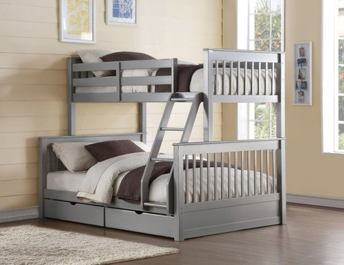 Alexandria Gray Twin Full Bunk with Storage Drawers