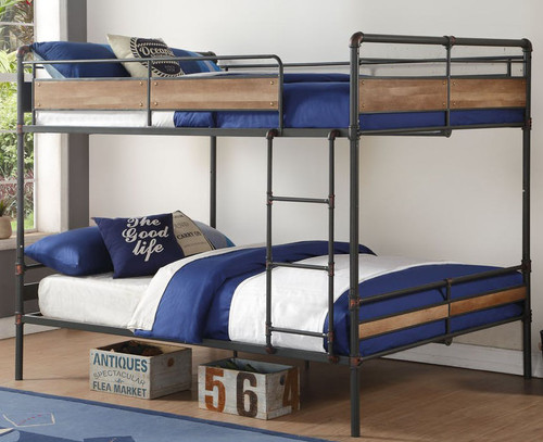 Pipe Like Queen Metal Bunk Bed in Sandy Black with Dark Bronze Accents