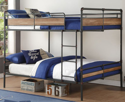 Pipe Like Queen Metal Bunk in Sandy Gunmetal Gray with Dark Bronze Accents