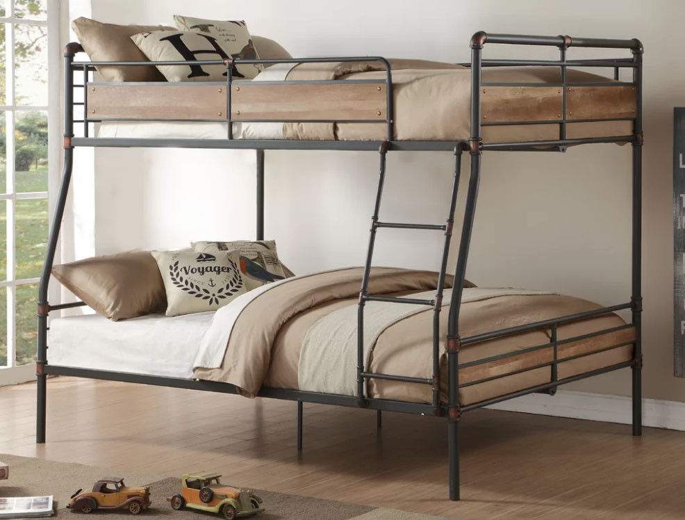 Pipe Like Sandy Black XL Full Over Queen Metal Bunk Bed