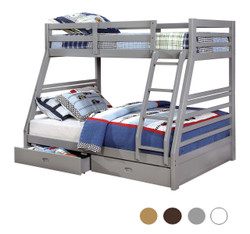 Patrick Wood Twin on Double Bunk Bed | Versatile Wood Twin Full Bunk with Drawers