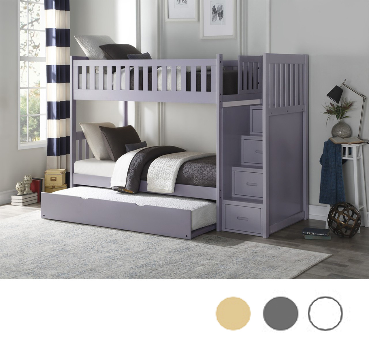 Charlton Pine Twin over Twin Bunk Bed with Stairs   Gray, White
