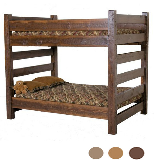 Cabin Queen Over Queen Barnwood Bunk Bed for Adults | Dark Finish Bunk
