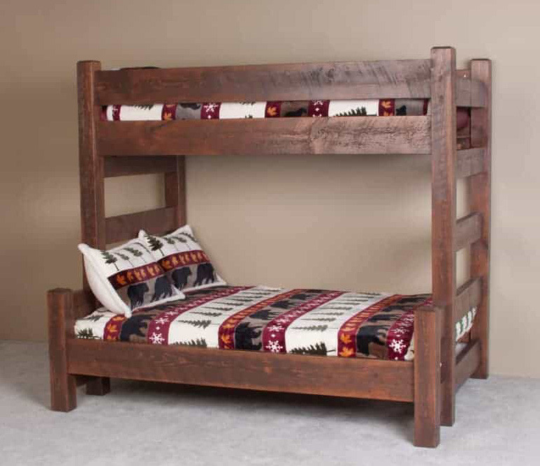 Lodge Xl Twin Over Queen Barnwood Bunk Bed Adult Bunk Beds