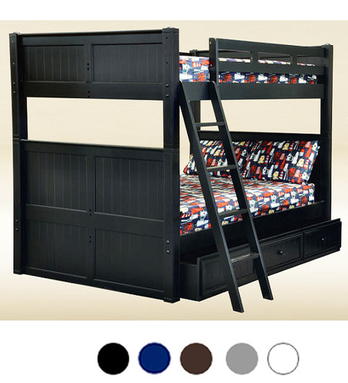 Dillon Black Finish Queen over Queen Bunk Bed with Under Bed Drawers