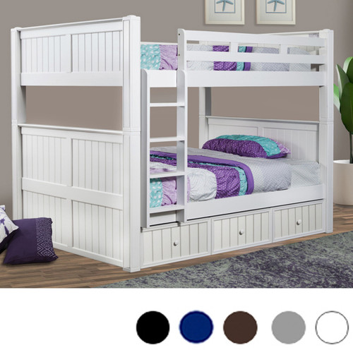 Dillon Queen over Queen Bunk Bed Shown with Trundle and Vertical Ladder