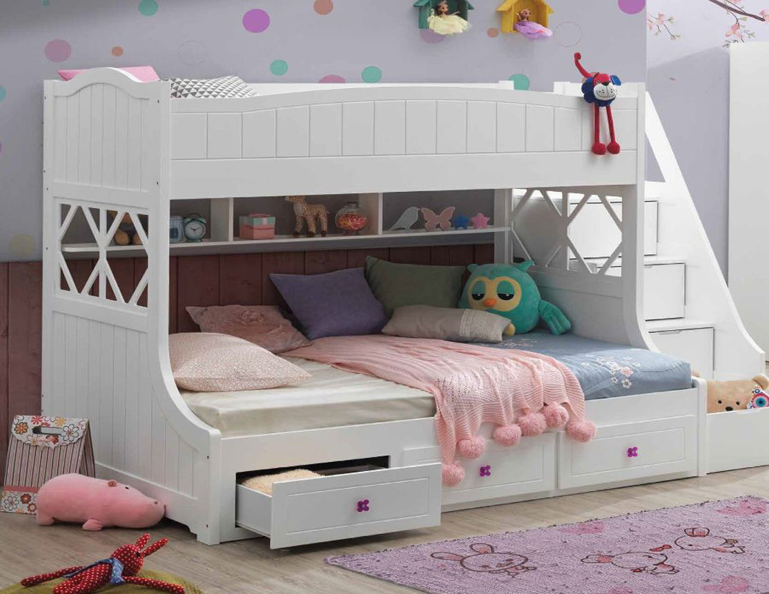 Picture of: Juno White Twin Full Bunk Bed With Steps Storage