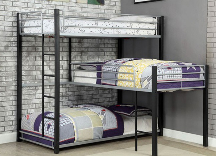 Gabriel industrial style triple decker bunk corner bunk - Beautiful girls bedroom furniture ...