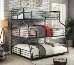 Piping Style Twin on Full on Queen Bunk | 3 Person Decker Bunk
