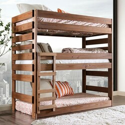 Julian 3-Level Twin Size Bed in Rustic Finish | 3-Tier Bed