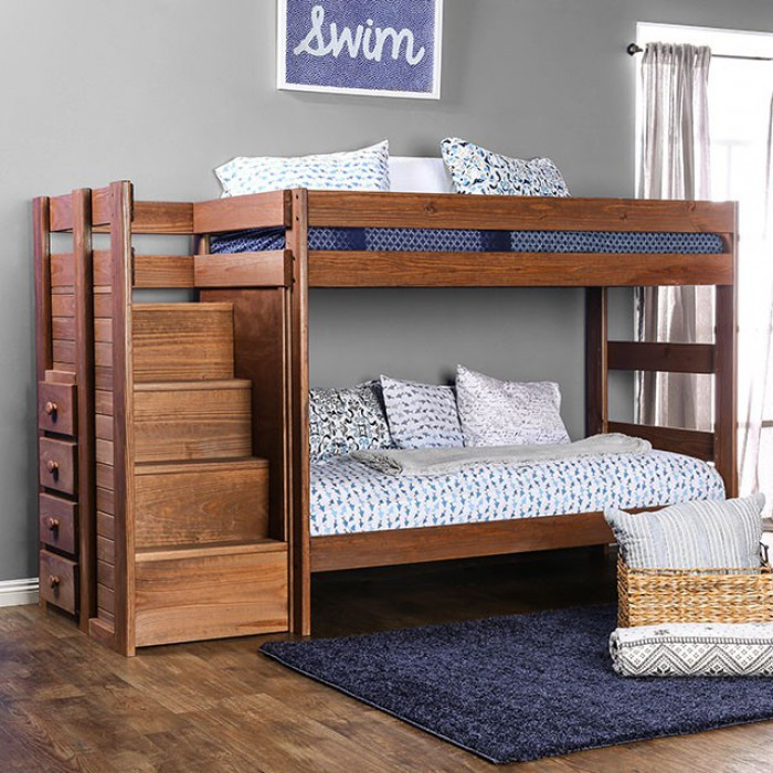 Julian Plank Style Twin Bunk Bed With Steps