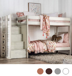 Pine Valley Plank Twin Bunk Bed with Steps in White