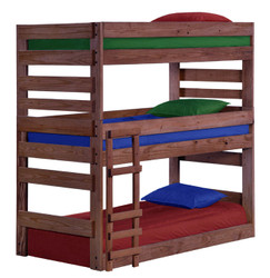 Pine Valley 3 Decker Twin Bunk Bed in Mahogany Finish