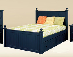 Dillon Bead Board Full Size Bed in Navy Blue