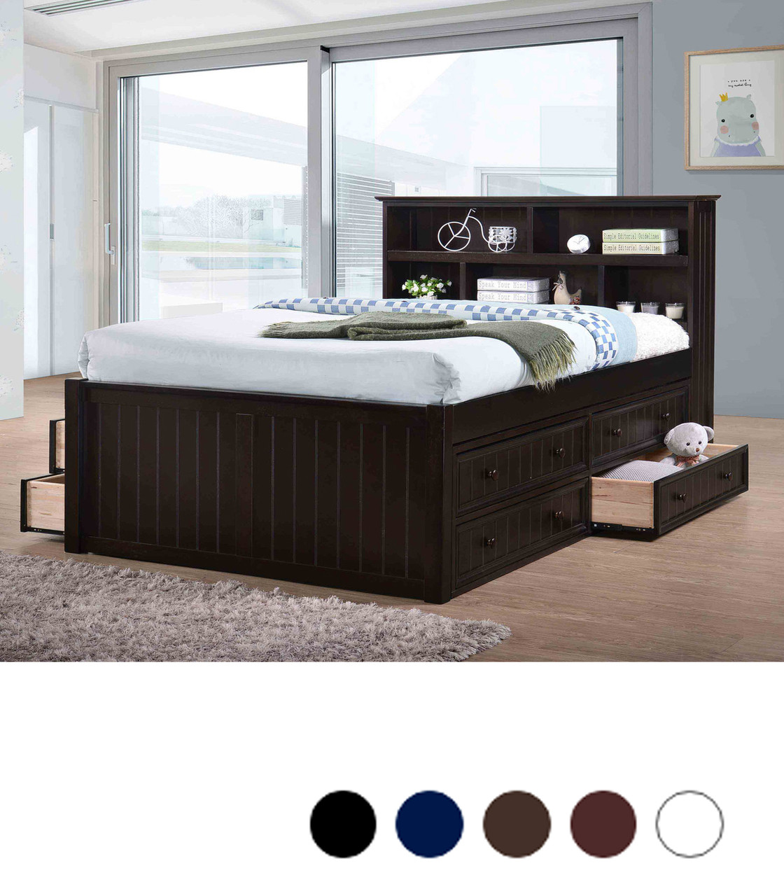 Dillon Xl Full Size Bookcase Captain S Bed With 4 To 8 Drawers