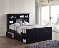 Dillon Queen Bookcase Captain's Bed with Optional under Bed Drawers