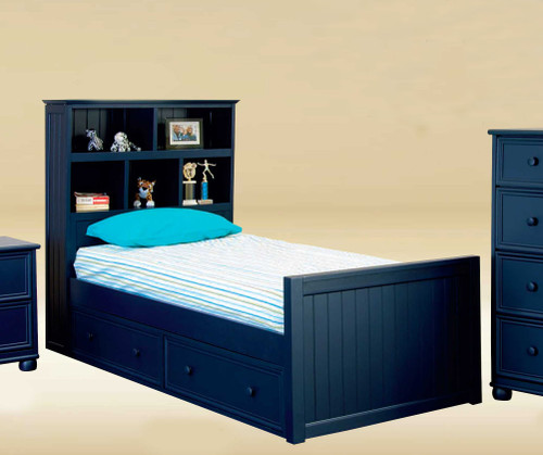 Gavin Bead Board Twin Bookcase Bed in Navy Blue with Optional Storage Drawers