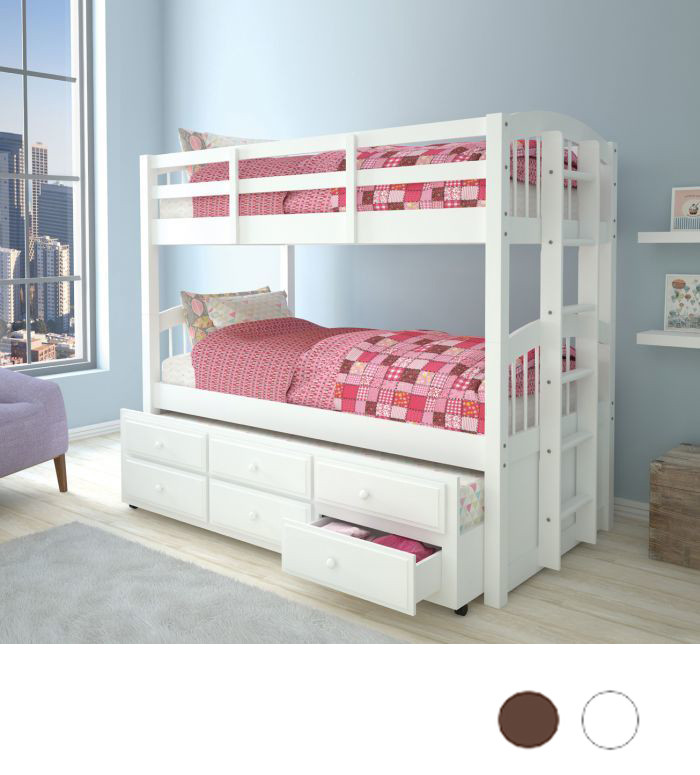 Catalina Convertible Twin Bunk Bed With Trundle Storage
