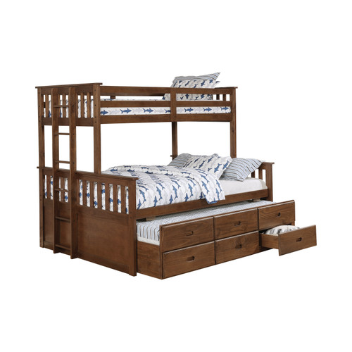 Brentwood Twin XL over Queen Bunk with Trundle in weathered walnut