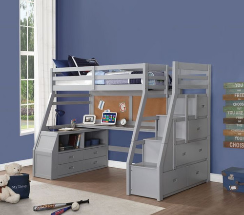 Venus Gray Twin Loft Bed with Storage Steps and workstation
