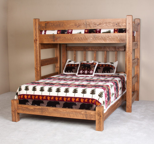 Lodge Barnwood Twin XL Loft Bed with Queen Below