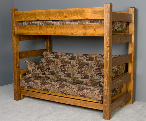 Lodge Twin Futon Barnwood Bunk in Honey Pine