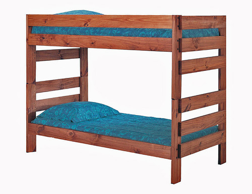 Pine Valley Twin XL Stackable Bunk Bed in Rustic Brown Mahogany Finish