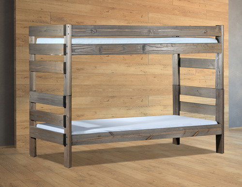 Pine Valley Twin XL Stackable Bunk Bed in Charcoal-walnut