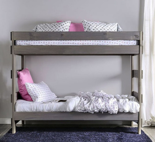 Julian Plank Style Double Decker Bed in Rustic Gray
