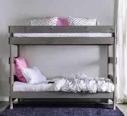 Julian Plank Style Double Decker Bed in Rustic Gray