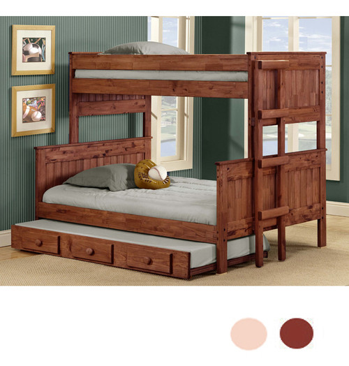 Pine River Twin XL over Full XL Stacked Bunk in Mahogany