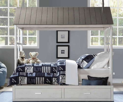 Beckett Tree House Bed in Weathered White and Gray Trim