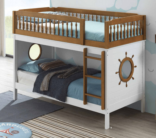 Harriet White Oak Twin Bunk