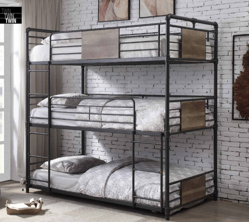 Bennett 3-High Twin Size Bed in Sandy Black and Bronze