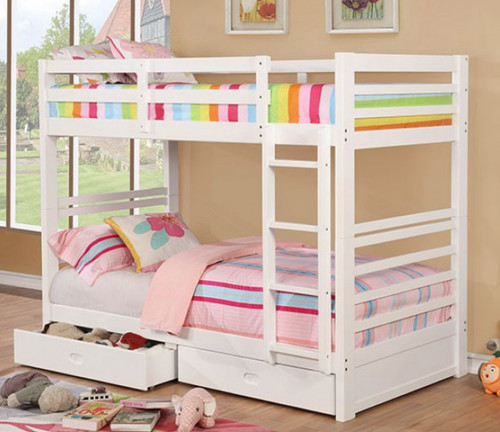 Patrick Wood Twin Bunk w/Drawers with White