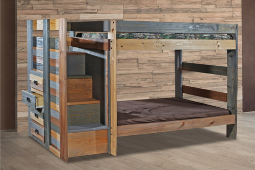 Twin Bunk Bed with Stairway and Storage Drawers in Multi Color