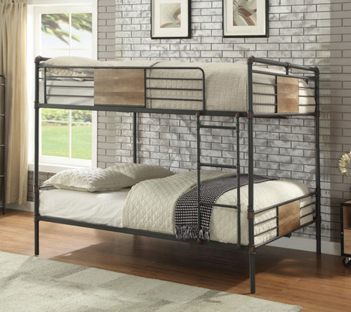Piping Style Metal with Wood Accent Queen Bunk