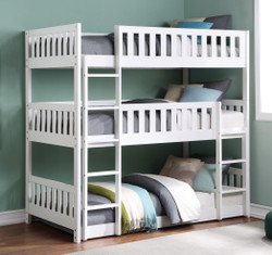 Glendale 3 High Twin Bunk Bed in White