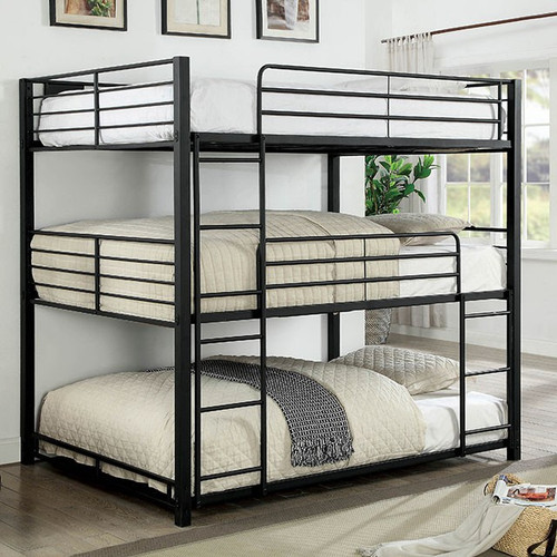 Logan Queen Three High Bunk Bed in Black | Stacked Beds