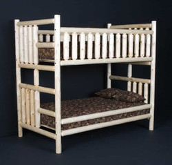 Log Twin Bunk Bed in Clear finish