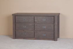 Lodge Rustic Barnwood 6-Drawer Dresser in Weathered Gray