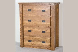 Lodge Rustic Barnwood 4-Drawer Chest in Honey Pine