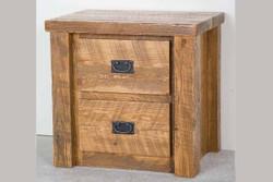Lodge Rustic Barnwood 2-Drawer Nightstand in Honey Pine